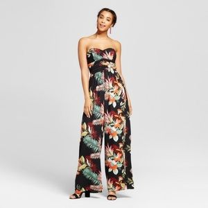 Strapless Quilted Tropical Jumpsuit